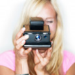 Say cheese! vintage photo camera - Stock Photo