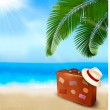 Seaside view with palm leaves, travel suitcase and a hat   Summer holidays concept background  Vector - Stock Vector