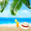 Seaside view with palm leaves, coctail and traveller s hat  Summer holidays concept background  Vector — Stock Vector