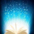 Opened magic book with magic light  Vector illustration — Stockvektor