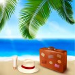Seaside view with palm leaves, travel suitcase and a hat   Summer holidays concept background  Vector — Stock Vector