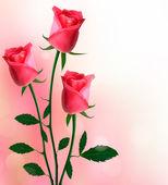 Sfondo vacanza con illustrazione vettoriale belle rose rosse — Vettoriale Stock