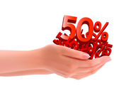 Conceito de desconto mãos segurando o vetor de vendas — Vetorial Stock