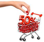 Koncepce slevy, nákupní košík s prodejem vektorové ilustrace — Stock vektor