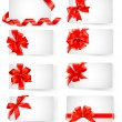 Big set of cards with red gift bows with ribbons  Vector — Stok Vektör