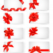 Big set of cards with red gift bows with ribbons Vector — Stock Vector #11231777
