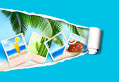 Background with photos from holidays on a seaside. Summer holidays concept. Vector — Vecteur