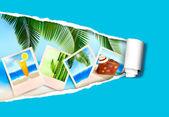 Fundo com fotos de férias em uma praia. conceito de férias de verão. vector — Vetorial Stock