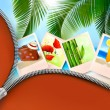 Постер, плакат: Background with photos from holidays on a seaside Summer holidays concept