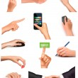 Collection of hands holding different business objects — Stock Vector