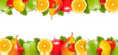 Two borders made of delicious ripe fruit. Vector. — Vettoriale Stock