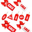 Big set of sales tags with red gift bow and ribbons — Image vectorielle