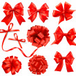 Set of card note with red gift bows with ribbons. Vector - Stock Vector