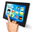 Hand touching icons on tablet. - Stock Vector