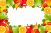 Frame made of fresh, juicy fruit. Vector. — Stock Vector