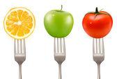 Lemon, tomato and apple on forks Concept of diet — Stock Vector