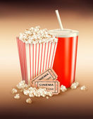 Popcorn, drink and two tickets — Stock Vector