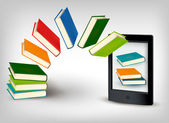 Books flying in an e-book — Stock Vector
