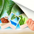 Background with photos from holidays on a seaside. — Stock Vector