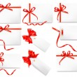 Stock Vector: Set of card notes with red gift bows with ribbons