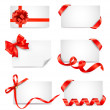 Set of card notes with red gift bows with ribbons — Stock Vector #12171300
