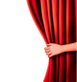 Background with red velvet curtain — Vector de stock