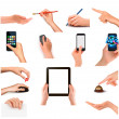 Collection of hands holding different business objects — Image vectorielle