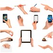 Collection of hands holding different business objects - Vettoriali Stock