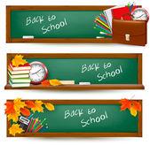 Terug naar school banners met schoolbenodigdheden — Stockvector