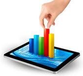 Tablet pc-scherm met grafiek en een hand — Stockvector