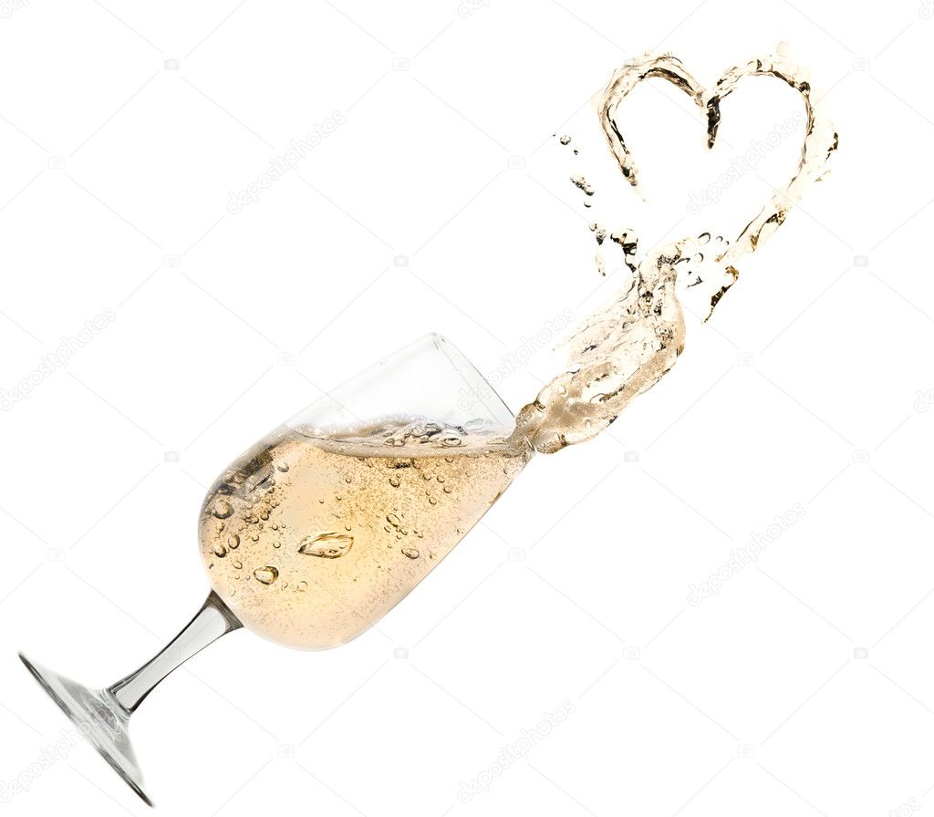 One glass of champagne with splash in form of heart. Isolated on the white — Stock Photo #10980669