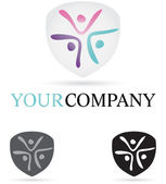 Three Figures Company Icon — Stock Vector