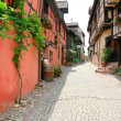 Alley in medieval Riquewihr town, France — Stock Photo