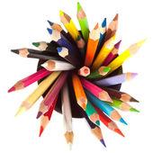 Lápices de colores diferentes con fondo blanco — Foto de Stock