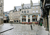 Old urban street in Dinan, France — Stock Photo