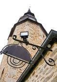 Medieval clock tower in Dinan — Stock Photo