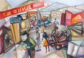 открытый городской рынок — Стоковое фото