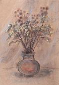 Tazón de cerámica con flores secas — Foto de Stock