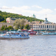 Riverside view on Kiev River Port building, Ukraina - Stock Photo