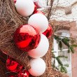 Decorative red and white new year balls — Stock Photo