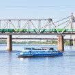 Foto Stock: River and railroad transport