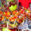 Stock Photo: Gummi bears and fresh fruits