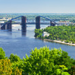 Panorama of Kiev with bridge on Dnieper River - Stock Photo