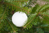 Witte kunststof sieraad op kerstboom — Stockfoto