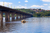 Bridge through Dnieper River — Stock Photo