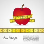 Apple med mätare — Stockvektor