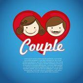 Couple on heart — Stock Vector