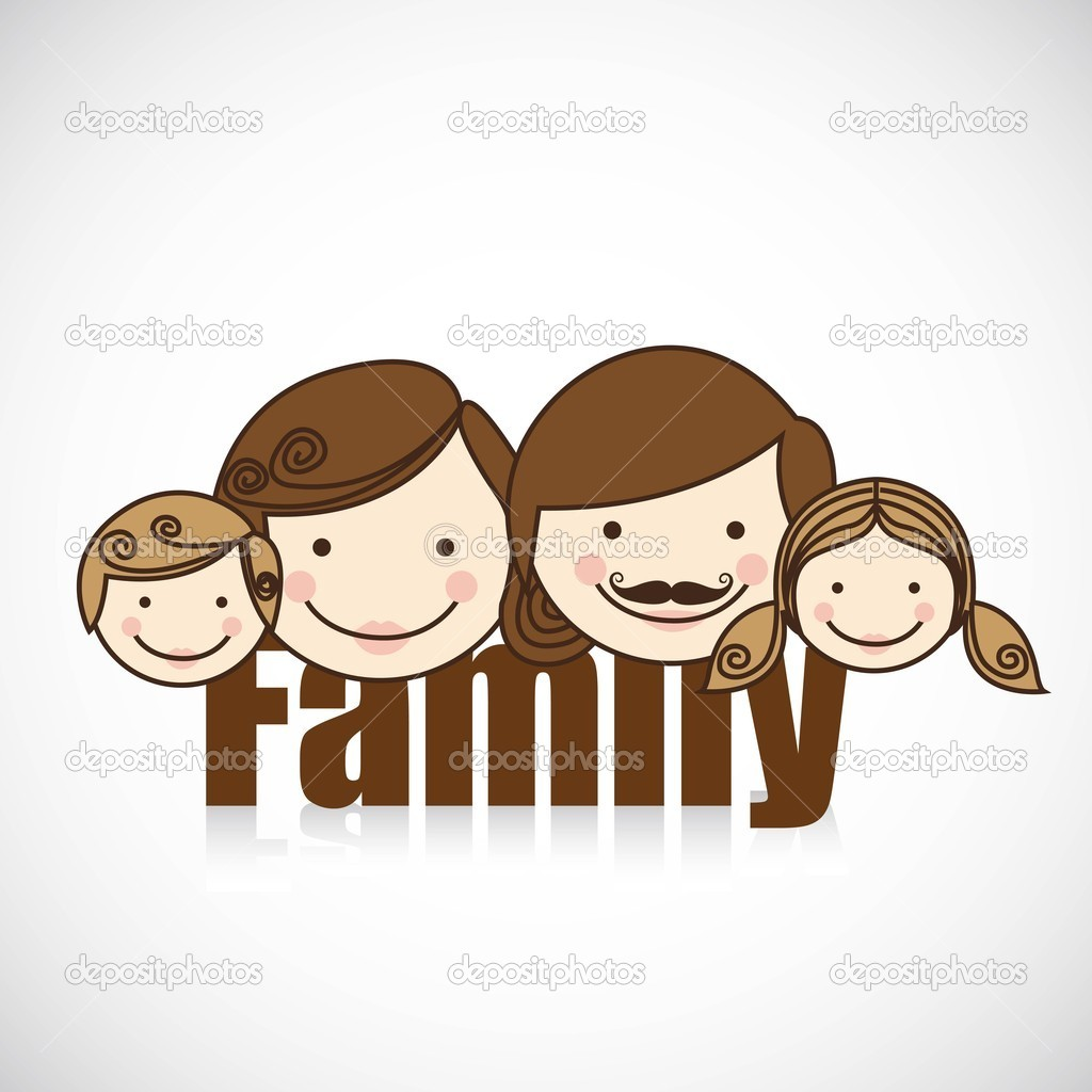 Happy family consists of father, mother, girl and boy — Stock Vector #10744758