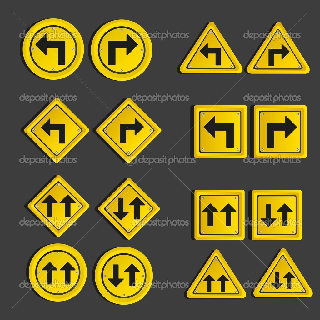 Set of traffic signs, isolated on black background, vector illustration — Stock Vector #10914727