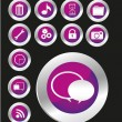 Purple button icon set — Stock Photo #11136034